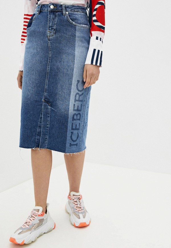 женская джинсовые юбка iceberg, синяя