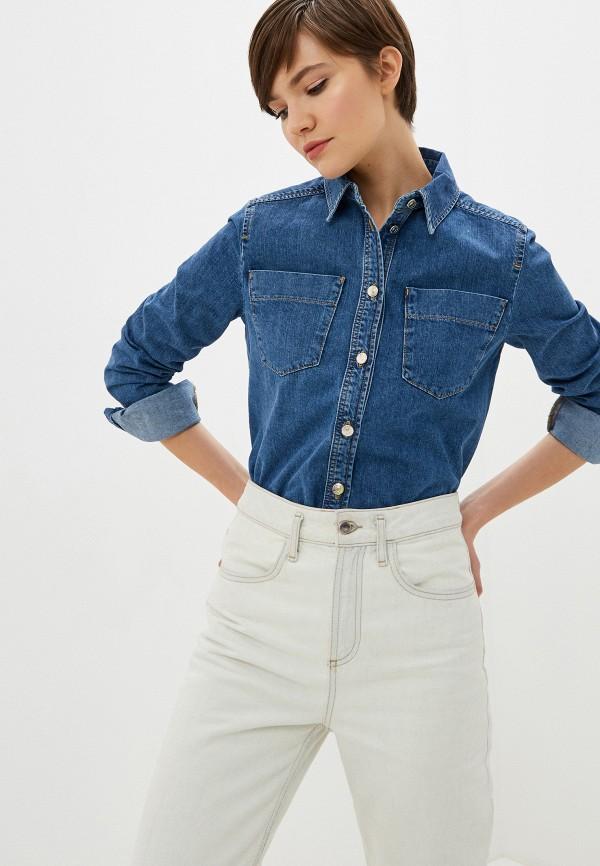 женская джинсовые рубашка iceberg, синяя