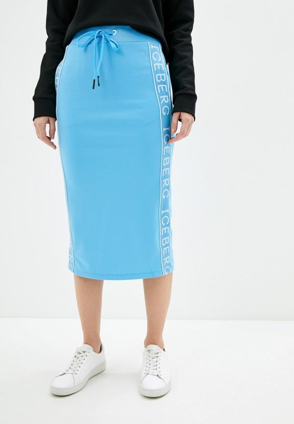 женская прямые юбка iceberg, голубая