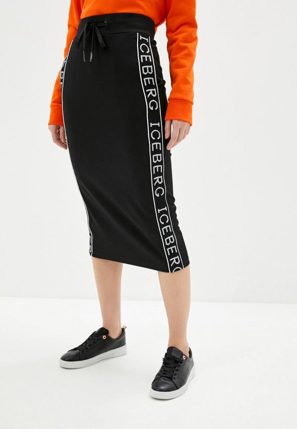 женская прямые юбка iceberg, черная