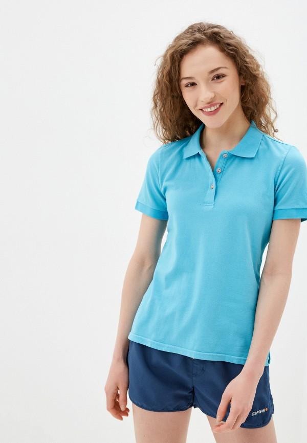 женское поло icepeak, голубое
