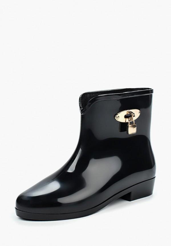 женские резиновые полусапожки ideal shoes, черные