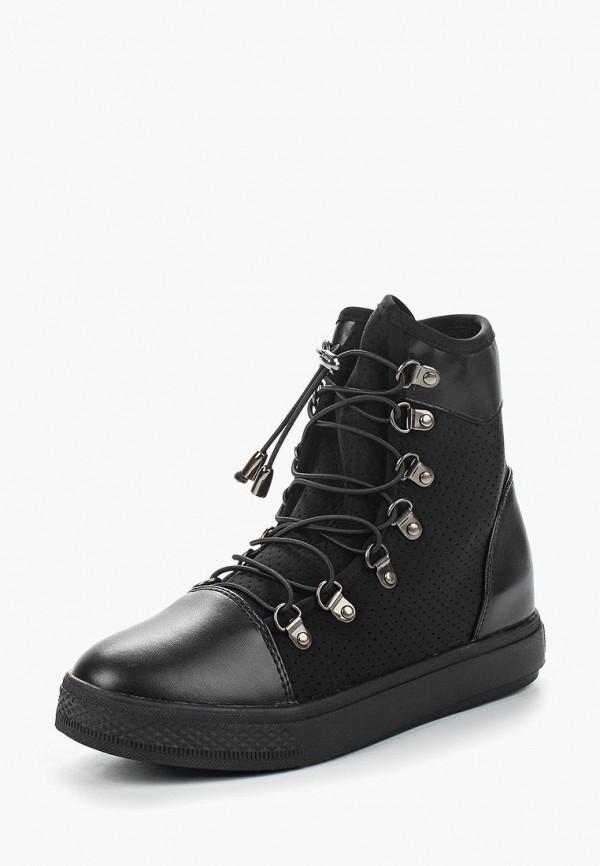 Кеды на танкетке Ideal Shoes, id007awanna6, черный, Весна-лето 2018  - купить со скидкой