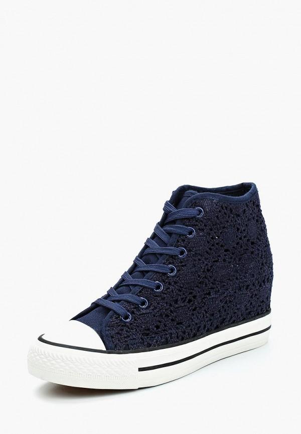 женские кеды на танкетке ideal shoes, синие
