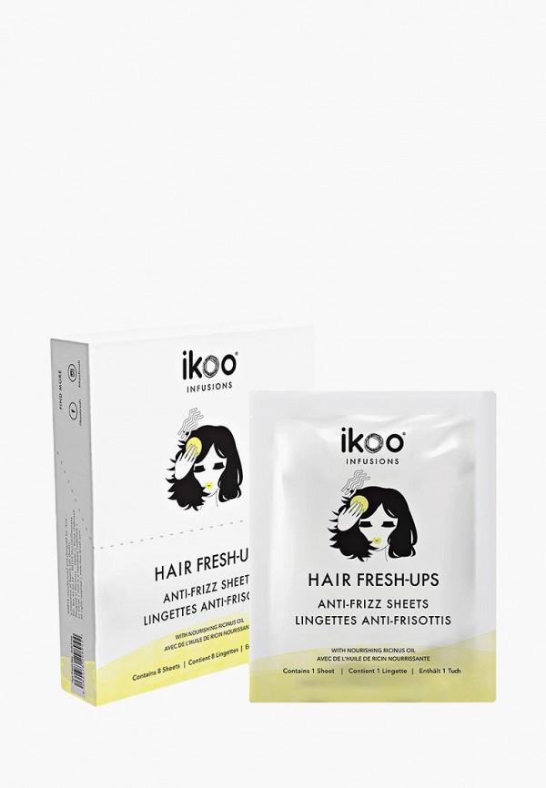 Купить Сухой шампунь ikoo, infusions Hair Fresh-Ups Anti-Frizz Sheets. Разглаживающие салфетки для волнистых, пушащихся и кудрявых волос. Саше, 8 шт, ik003lwdixy3, белый, Осень-зима 2018/2019