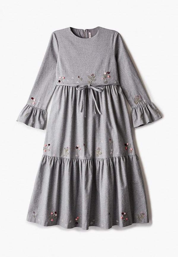 повседневные платье il gufo для девочки, серое