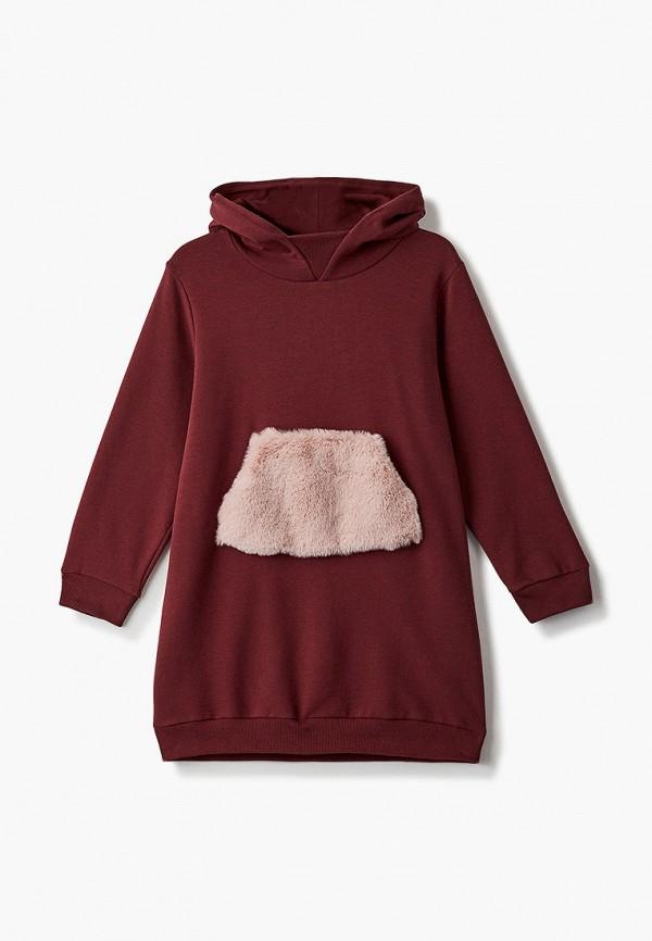 повседневные платье il gufo для девочки, бордовое