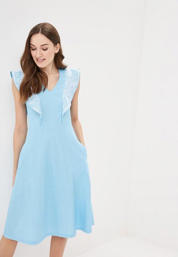 женское повседневные платье indiano natural, голубое