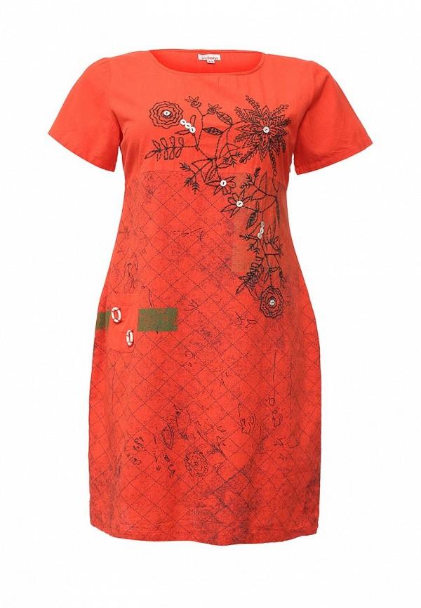 женское повседневные платье indiano natural, красное