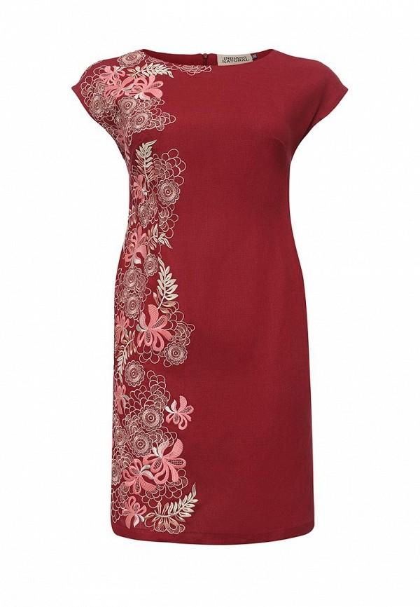 женское повседневные платье indiano natural, бордовое