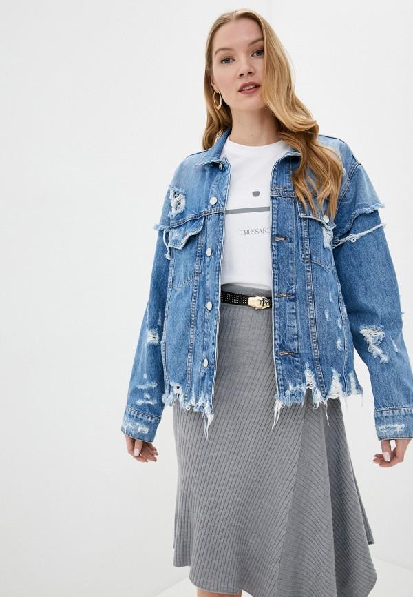 женская джинсовые куртка iro, голубая