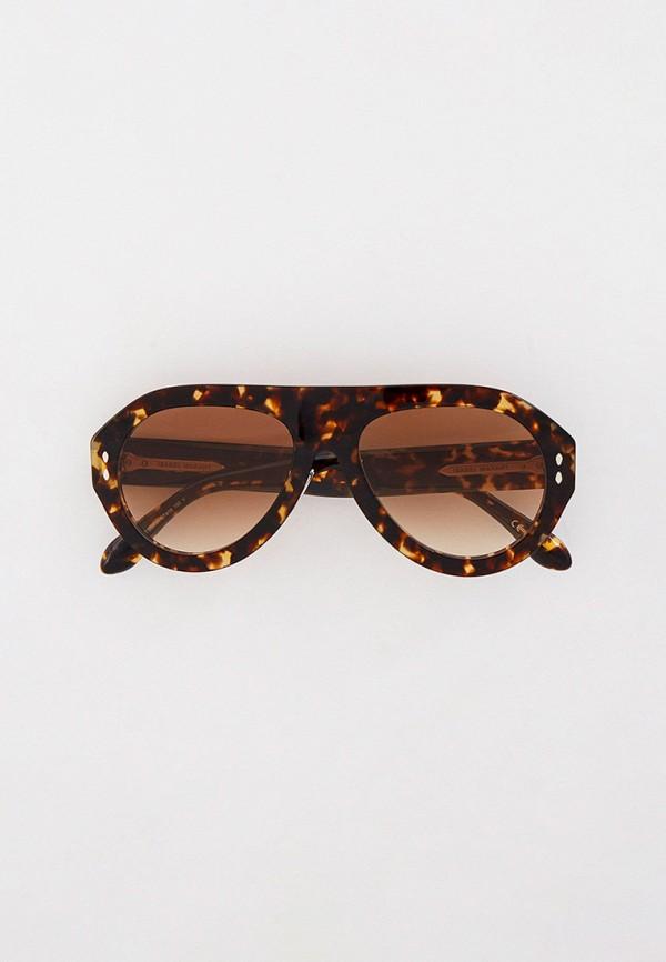 женские авиаторы солнцезащитные очки isabel marant, коричневые