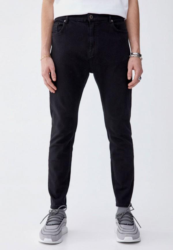 мужские зауженные джинсы pull&bear, черные