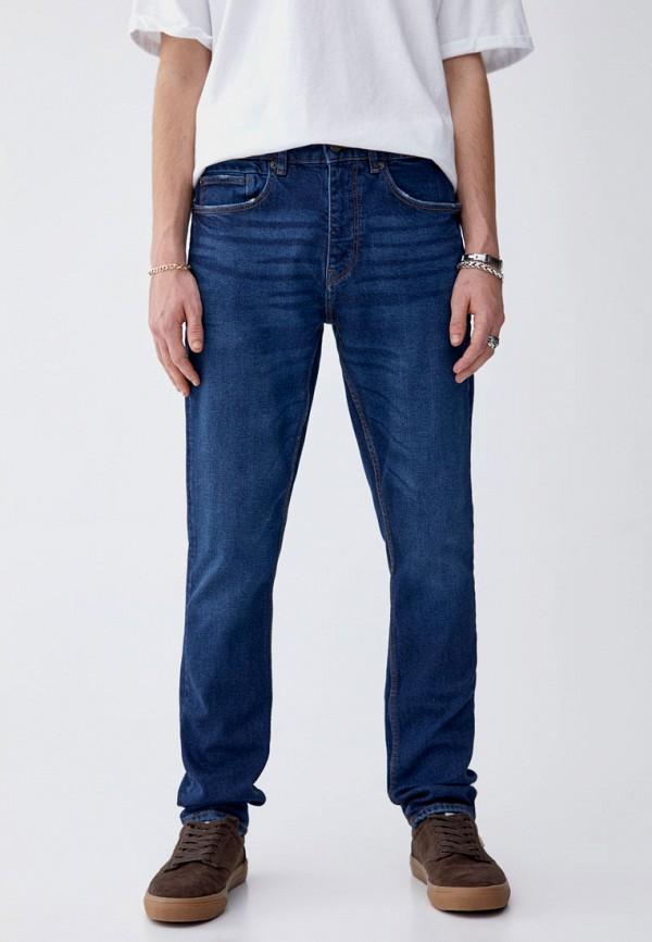 мужские зауженные джинсы pull&bear, синие