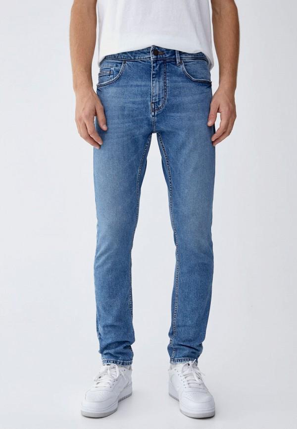 мужские зауженные джинсы pull&bear, голубые