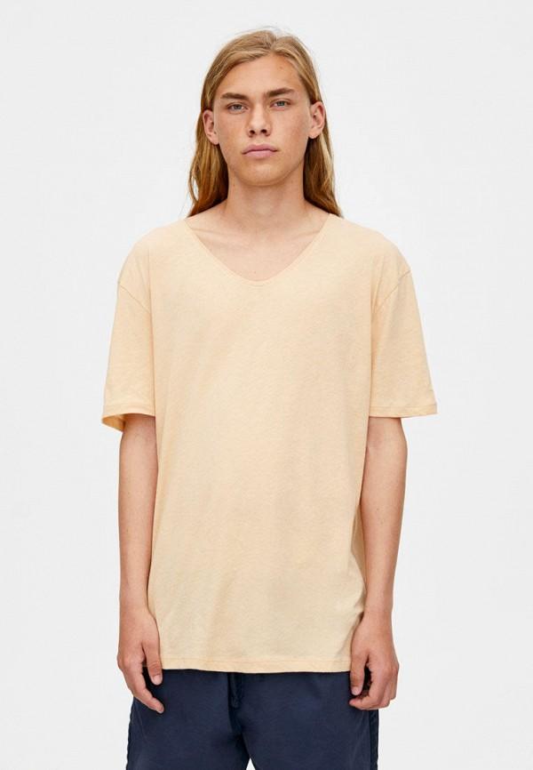 мужская футболка pull & bear, бежевая