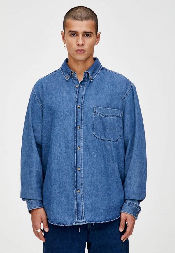 мужская рубашка pull & bear, синяя