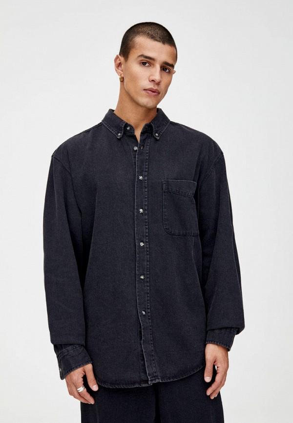 мужская рубашка pull & bear, черная