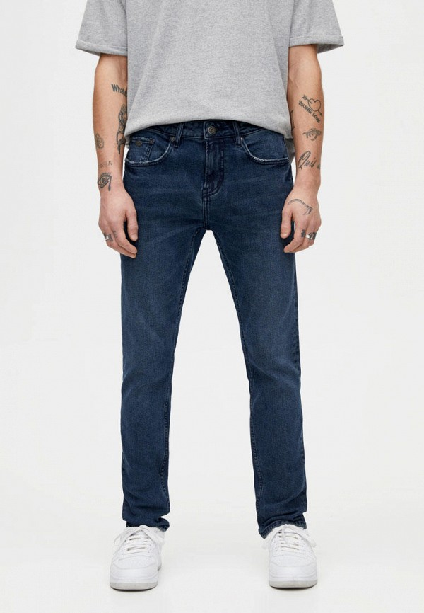 мужские зауженные джинсы pull & bear, синие