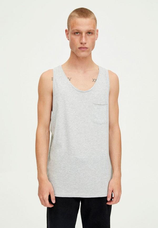 мужская футболка pull & bear, серая