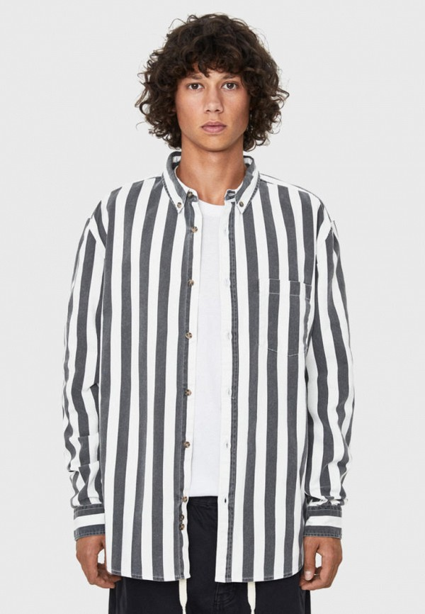 мужская рубашка с длинным рукавом bershka, белая