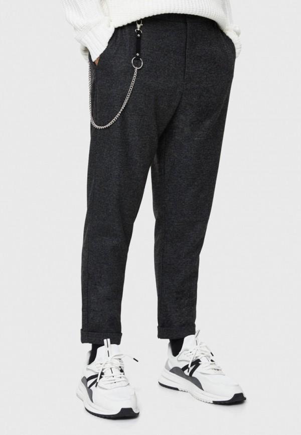 мужские прямые брюки bershka, серые