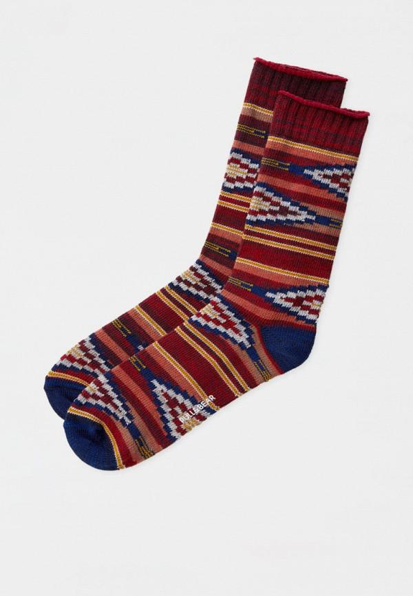 мужские носки pull & bear, бордовые