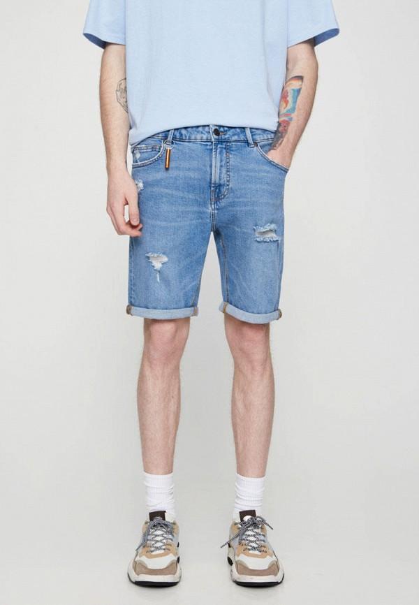 мужские джинсовые шорты pull & bear, голубые