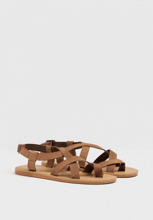 мужские сандалии bershka, коричневые