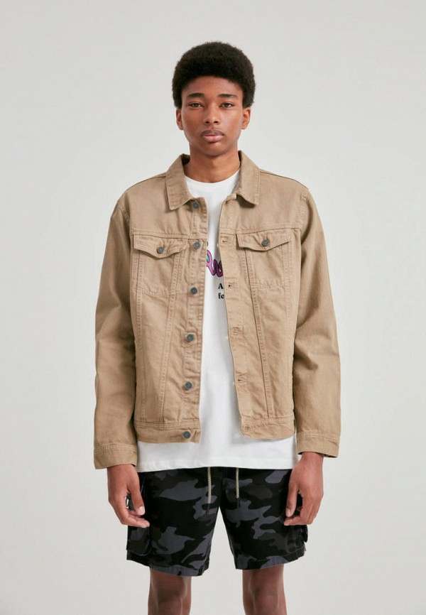мужская джинсовые куртка pull & bear, бежевая