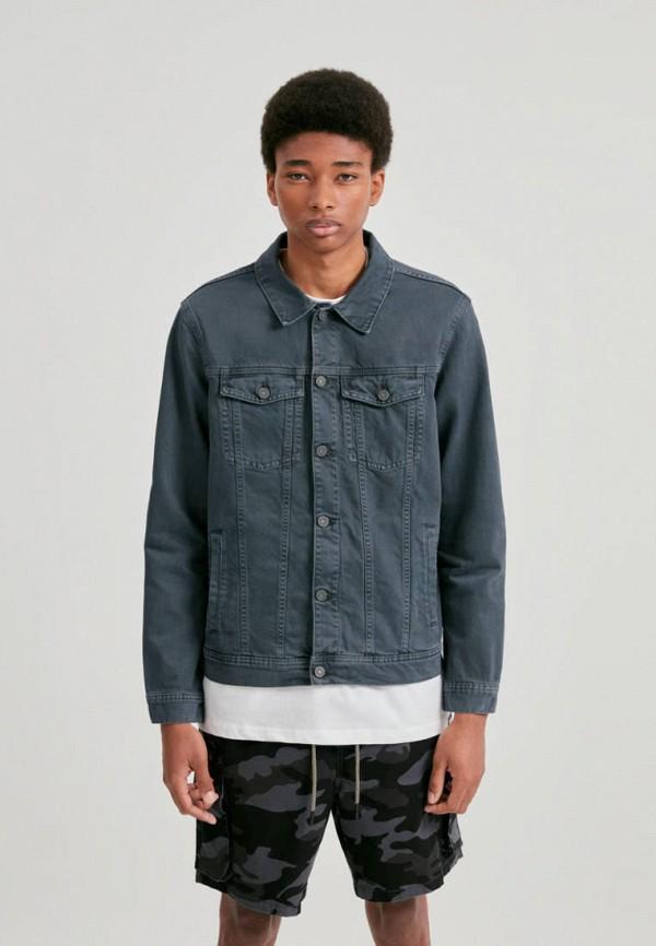мужская джинсовые куртка pull & bear, серая