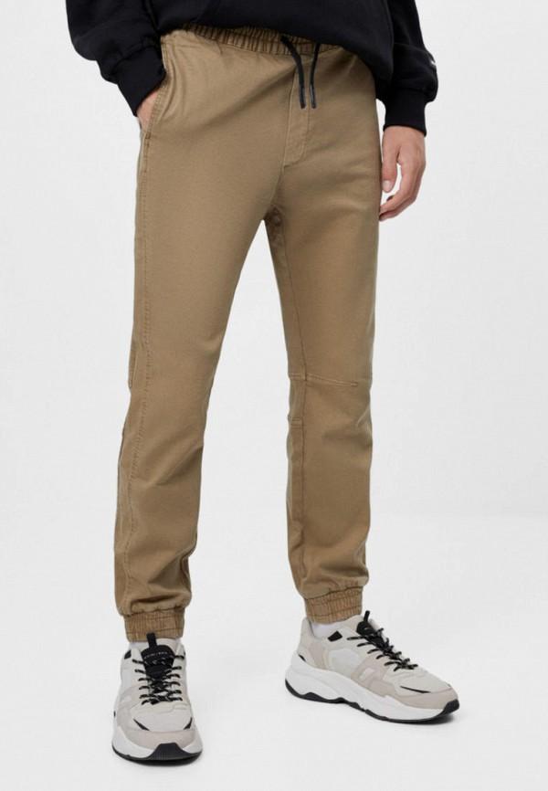 мужские брюки джоггеры bershka, бежевые