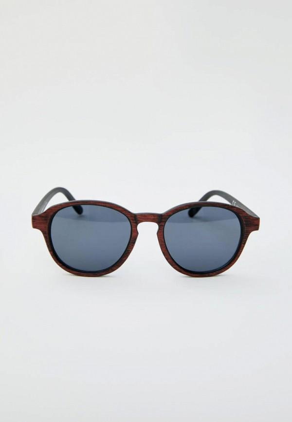 мужские круглые солнцезащитные очки pull & bear, коричневые