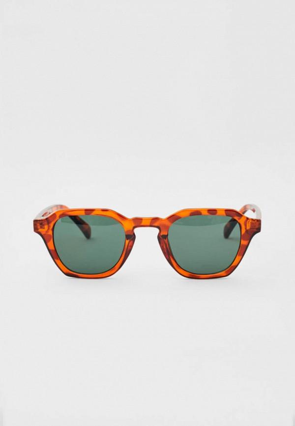 мужские квадратные солнцезащитные очки pull & bear, коричневые