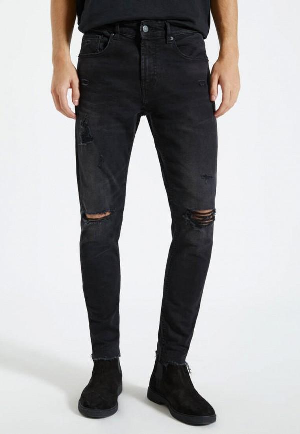 мужские зауженные джинсы pull & bear, черные