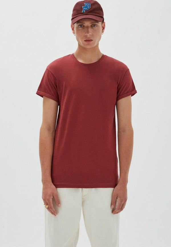 мужская футболка с коротким рукавом pull & bear, бордовая