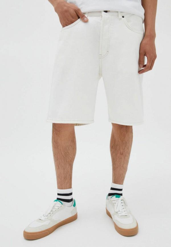 Шорты джинсовые Pull&Bear белого цвета