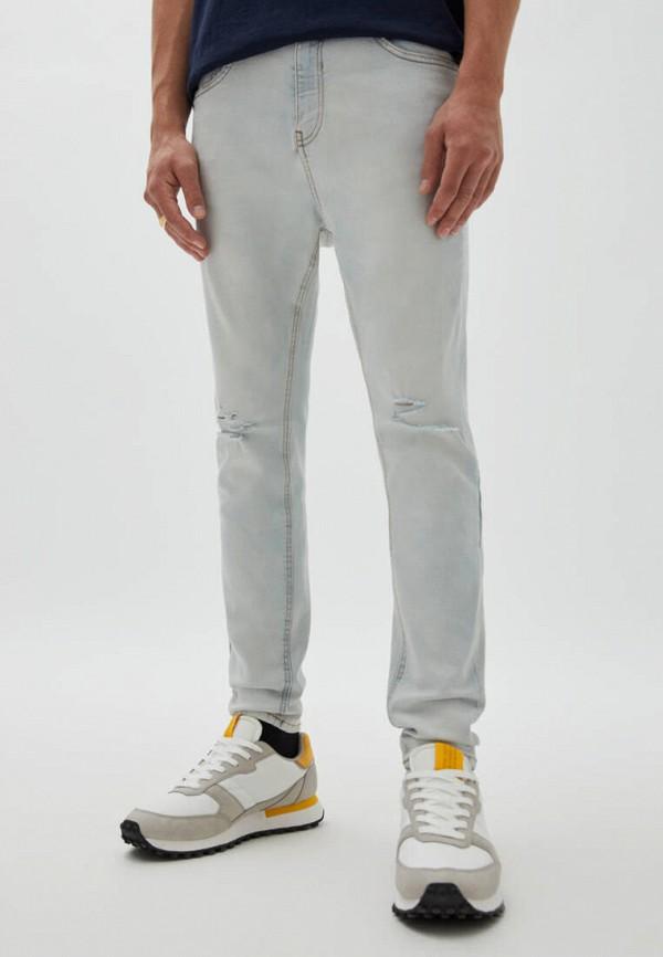 мужские зауженные джинсы pull & bear, голубые