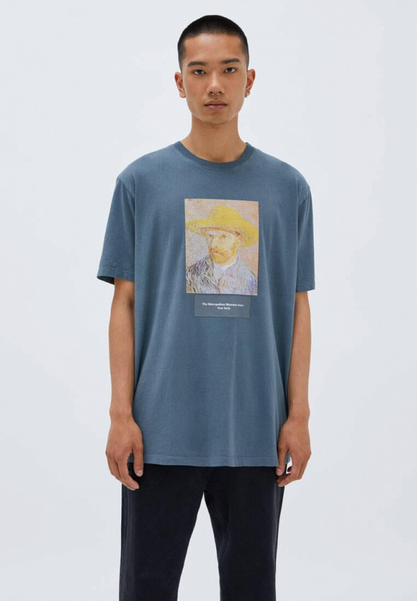мужская футболка с коротким рукавом pull & bear, синяя