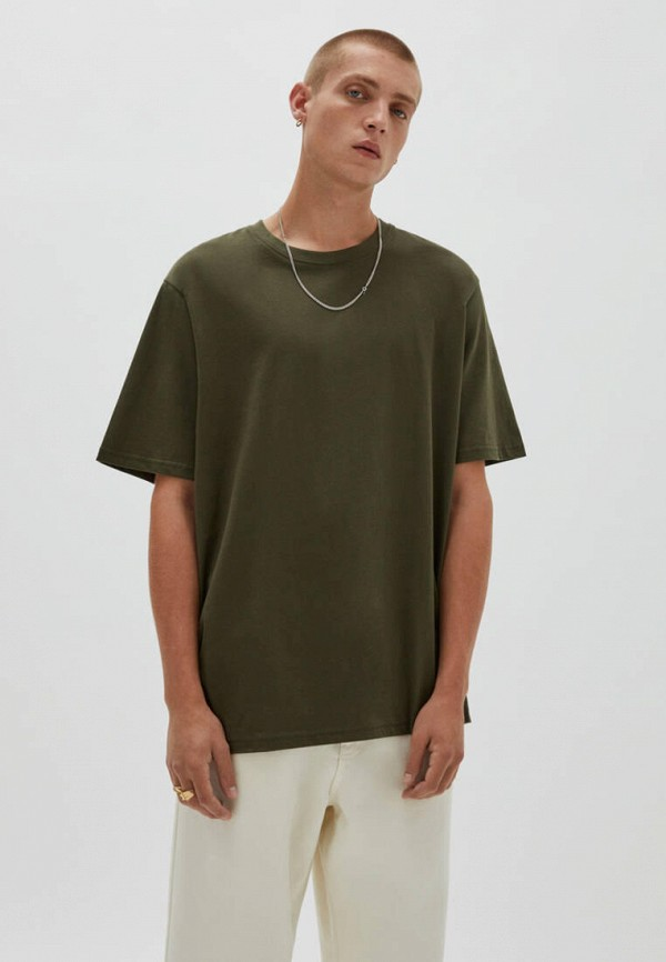 мужская футболка с коротким рукавом pull & bear, хаки