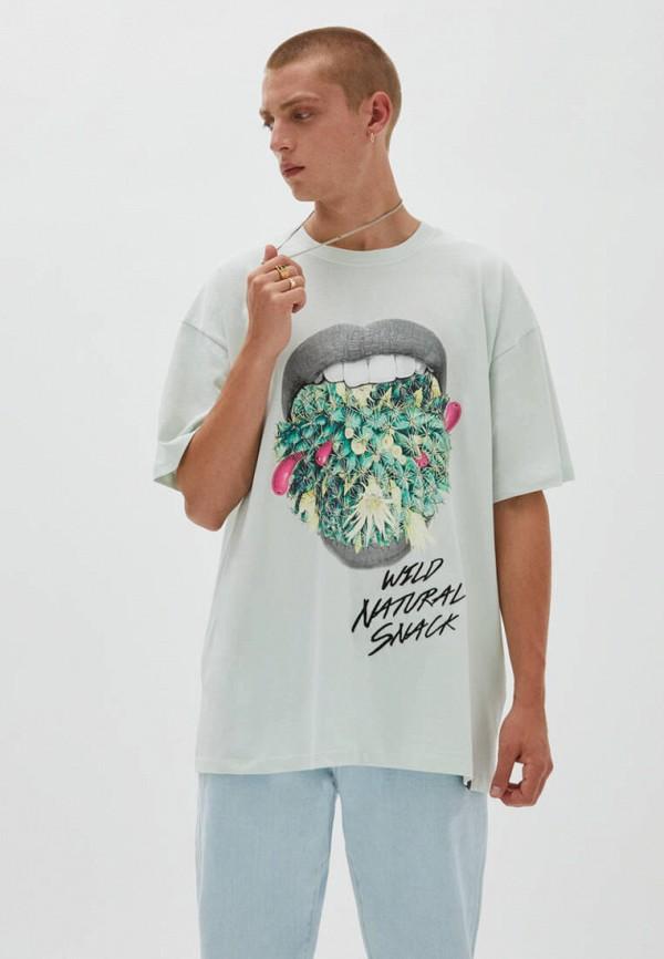 мужская футболка с коротким рукавом pull & bear, зеленая