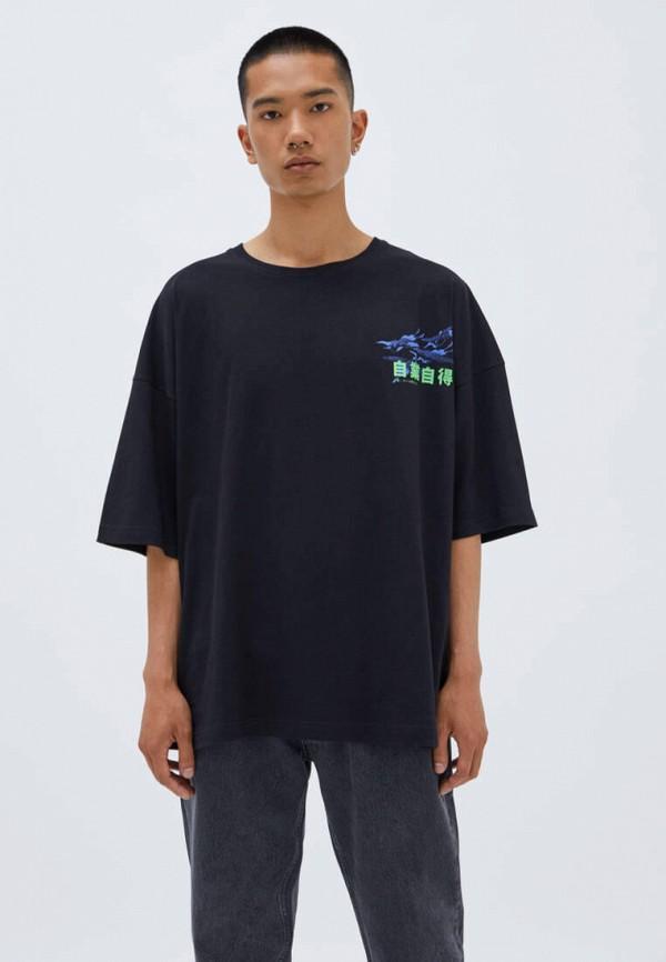 мужская футболка с коротким рукавом pull & bear, черная