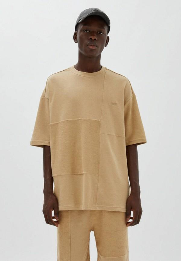 мужская футболка с коротким рукавом pull & bear, бежевая