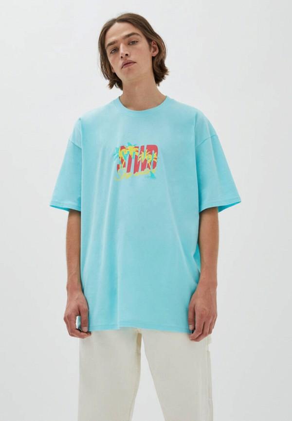 мужская футболка с коротким рукавом pull & bear, голубая