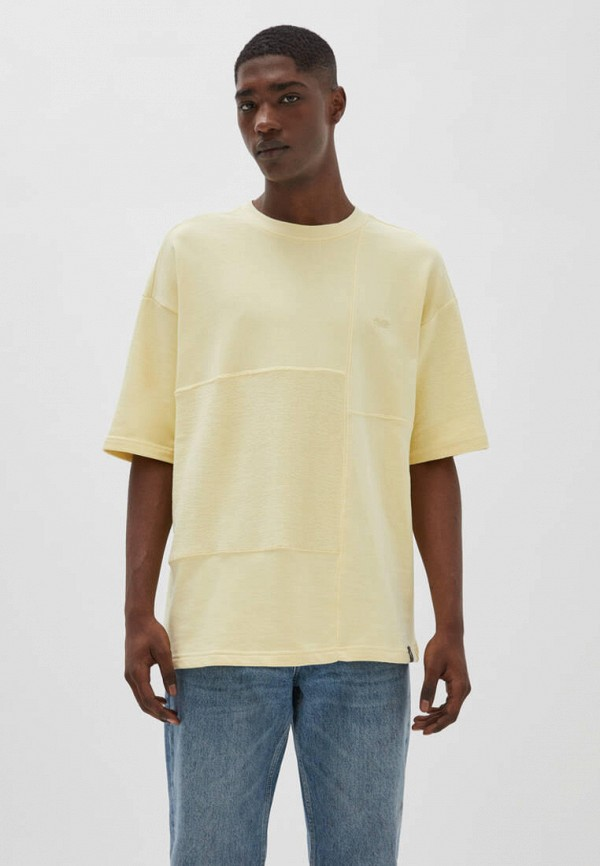 мужская футболка с коротким рукавом pull & bear, желтая