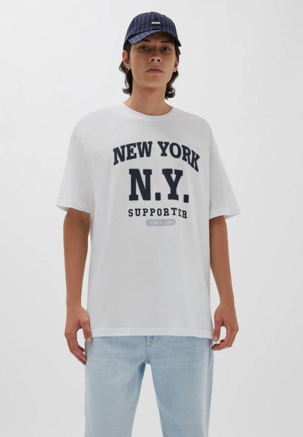 мужская футболка с коротким рукавом pull & bear, белая