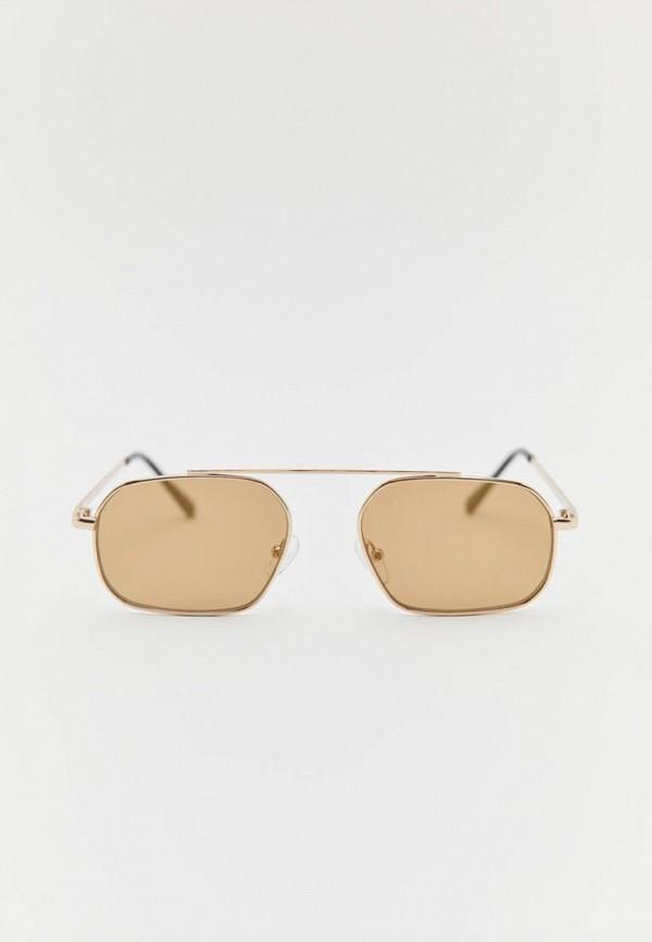 мужские квадратные солнцезащитные очки pull & bear, золотые