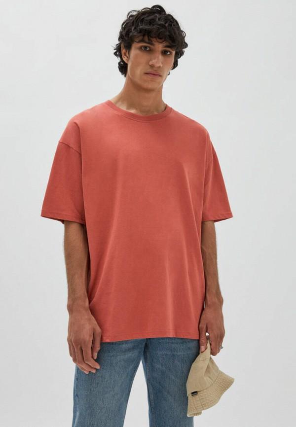 мужская футболка с коротким рукавом pull & bear, красная