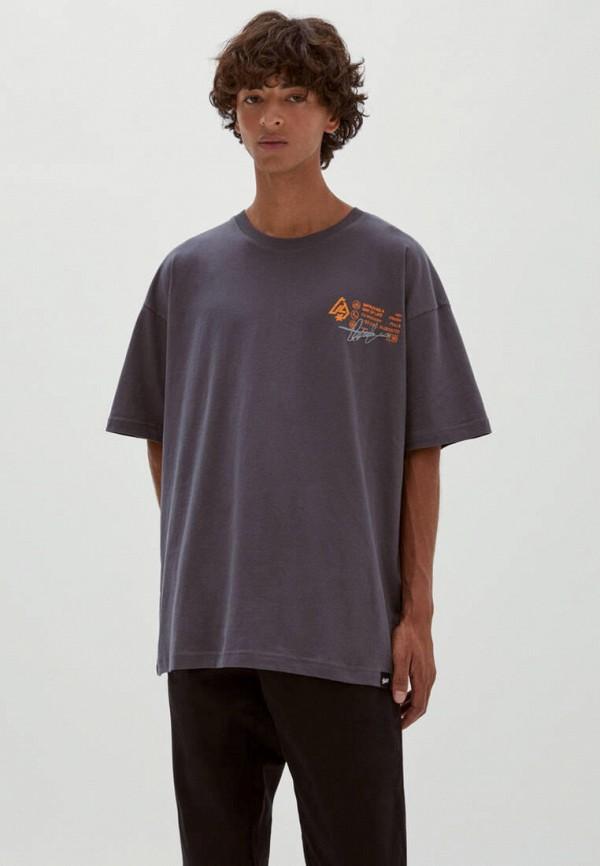 мужская футболка с коротким рукавом pull & bear, серая