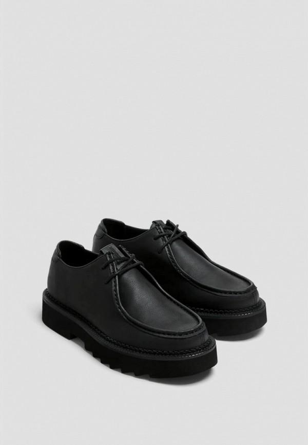 мужские туфли-дерби pull & bear, черные